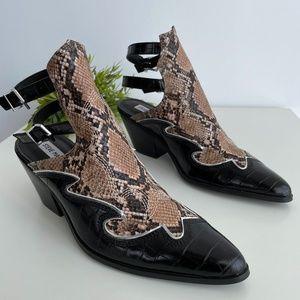 Steve Madden snakeskin slingback western bootie